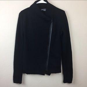 Vince Asymmetrical Black Knit Wool Jacket Leather